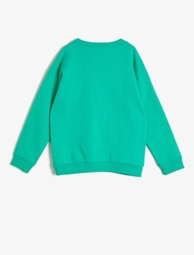 Koton Kids Baskili Sweatshirt Yeşil